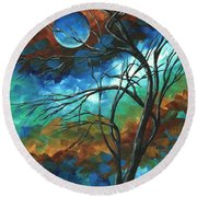 Abstract Art Original Colorful Painting Mystery Of The Moon By Madart Round Beach Towel