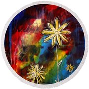 Abstract Art Original Daisy Flower Painting Visual Feast By Madart Round Beach Towel