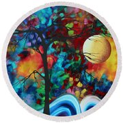 Abstract Art Original Enormous Bold Painting Essence Of The Earth I By Madart Round Beach Towel by Megan Duncanson