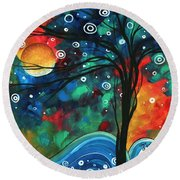 Abstract Art Original Landscape Colorful Painting First Snow Fall By Madart Round Beach Towel by Megan Duncanson