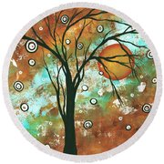 Abstract Art Original Landscape Painting Bold Circle Of Life Design Autumns Eve By Madart Round Beach Towel