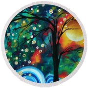 Abstract Art Original Landscape Painting Bold Circle Of Life Design Dance The Night Away By Madart Round Beach Towel