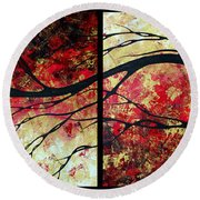 Abstract Art Original Landscape Painting Bring Me Home By Madart Round Beach Towel by Megan Duncanson