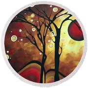 Abstract Art Original Landscape Painting Catch The Rising Sun By Madart Round Beach Towel