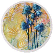 Abstract Art Original Landscape Painting Contemporary Design Blue Trees II By Madart Round Beach Towel