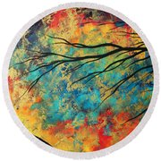 Abstract Art Original Landscape Painting Go Forth I By Madart Studios Round Beach Towel