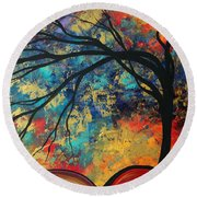 Abstract Art Original Landscape Painting Go Forth II By Madart Studios Round Beach Towel