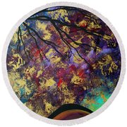 Abstract Art Original Landscape Painting Go Forth IIi By Madart Studios Round Beach Towel