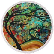 Abstract Art Original Landscape Wild Abandon By Madart Round Beach Towel