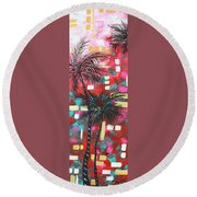 Abstract Art Original Tropical Landscape Painting Fun In The Tropics By Madart Round Beach Towel by Megan Duncanson