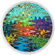 Abstract Background With Bright Colored Waves 1 Round Beach Towel