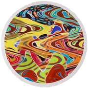 Abstract Background With Bright Colored Waves 17 Round Beach Towel