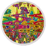 Abstract Background With Bright Colored Waves 5 Round Beach Towel