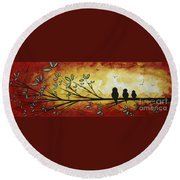 Abstract Bird Landscape Tree Blossoms Original Painting Family Of Three Round Beach Towel
