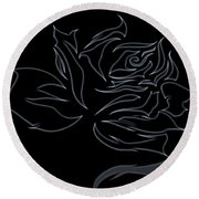 Abstract Black Rose  Round Beach Towel