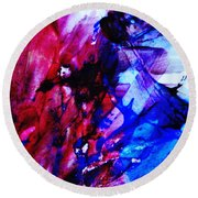 Abstract Blue And Pink Festival Round Beach Towel by Andrea Anderegg