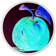 Abstract Blue And Teal Apple On Black Round Beach Towel