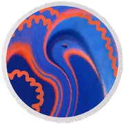 Abstract Blue Bird Round Beach Towel