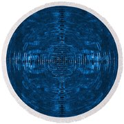 Abstract Blue Electric Circuit Future Technology_oil Painting On Canvas Round Beach Towel