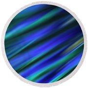 Abstract Blue Green Diagonal Blur Round Beach Towel