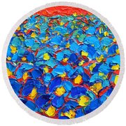 Abstract Blue Poppies In Sunrise -original Oil Painting Round Beach Towel