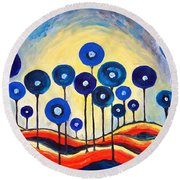 Abstract Blue Symphony  Round Beach Towel