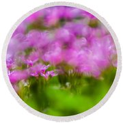 abstract Blurry pink flower background for backgrounds Round Beach Towel