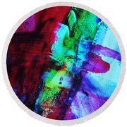 Abstract Bold Colors Round Beach Towel by Andrea Anderegg