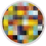 Abstract Boxes With Layers Round Beach Towel