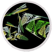 Abstract Bugs Life Horizontal Round Beach Towel
