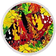 Abstract Butterfly #3 Autumn Round Beach Towel