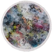 Abstract Butterfly Dragonfly Painting Round Beach Towel