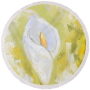 Abstract Calla Lily Round Beach Towel