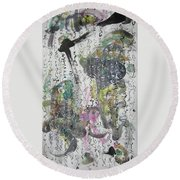 Abstract Calligraphy Art Painting Black Pink Green Gray Art Spring Color Painting Rice Paper Art Sjk Round Beach Towel