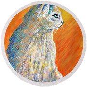 Jazzy Abstract Cat Round Beach Towel