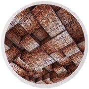 Abstract Ceiling Stone Construction  Round Beach Towel