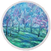 Abstract Cherry Trees Round Beach Towel