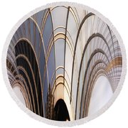 Abstract Chicago Sunrays On Trump Tower Round Beach Towel