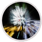 Abstract Christmas Lights - Burst Of Colors Round Beach Towel
