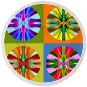 Abstract Circles And Squares 1 Round Beach Towel