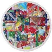 Abstract Collages 1 Round Beach Towel