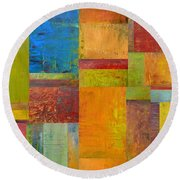 Abstract Color Study Collage Ll Round Beach Towel