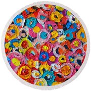 Abstract Colorful Flowers 1 - Paint Joy Series Round Beach Towel