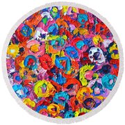Abstract Colorful Flowers 3 - Paint Joy Series Round Beach Towel