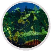 Abstract Colorful Light Projection On Trees Round Beach Towel