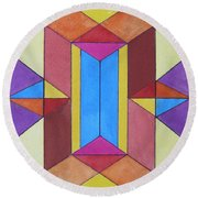 Abstract Colorful Stained Glass Window Design  Round Beach Towel
