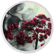 Abstract Contemporary Art Landscape Painting Modern Artwork Pink Passion By Madart Round Beach Towel
