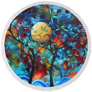 Abstract Contemporary Colorful Landscape Painting Lovers Moon By Madart Round Beach Towel