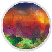 Abstract - Crayon - Utopia Round Beach Towel by Mike Savad