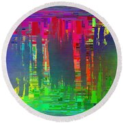 Abstract Cubed 113 Round Beach Towel